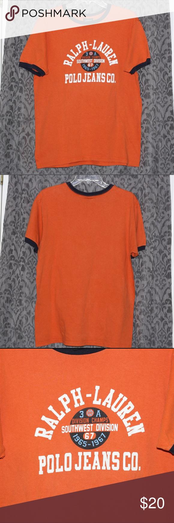 5051f620e8ac8 Vtg 90s POLO JEANS CO T shirt orange ringer tee Vintage Polo Jeans ...