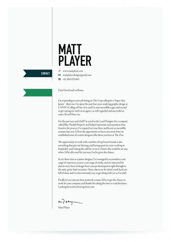 Cover Letter Design Resume Design Pinterest Cover letter