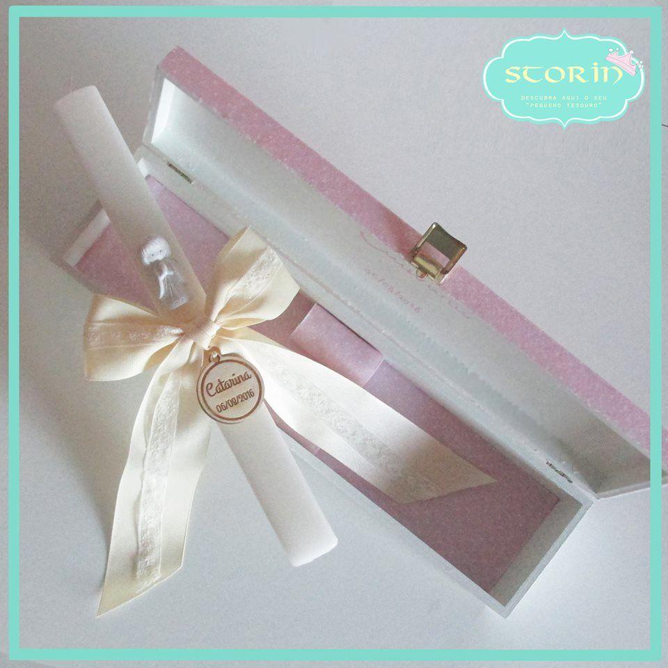 Vela de Batismo e caixa decorada com tecido +info Facebook messge or Email storin@sapo.pt