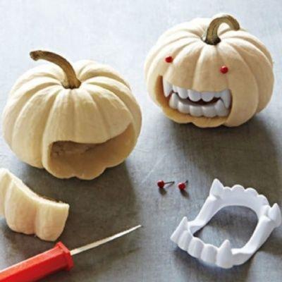 Fanged Pumpkins - 15 Spooktacular Decor DIYs for Halloween - cute easy halloween decorations