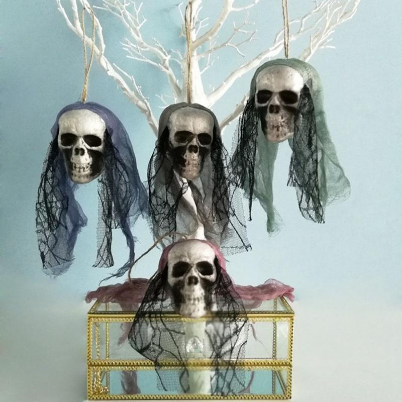 DIY Artificial Foam Skull Bride Clothes Halloween Decor Bone Head
