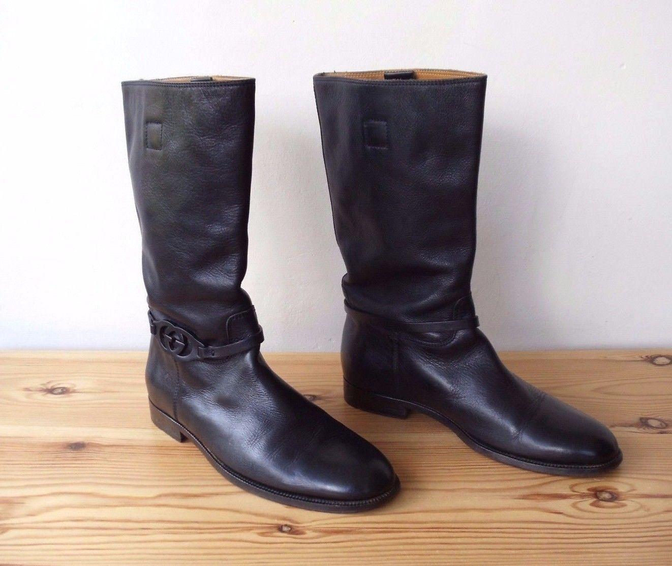 d923efa63 Rare Men's Gucci Black Leather Tall Riding Boots UK 9.5 EU 43.5 US 10.5 RRP  Â850