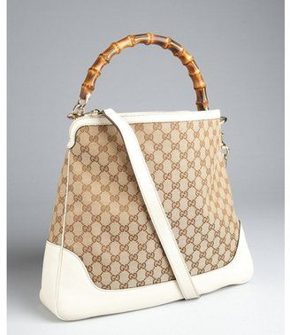 62599d4042fdc2 summer bag! ShopStyle: Gucci cream and beige GG canvas 'Diana' bamboo  handle hobo