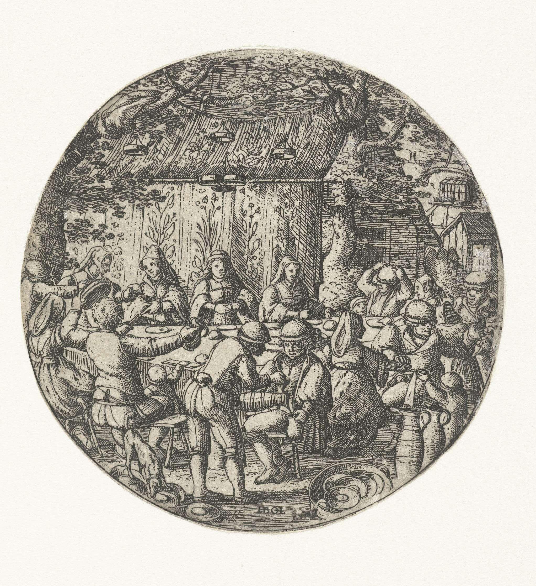 Hans Bol | Huwelijkstafel, Hans Bol, c. 1550 - 1593 | In de buitenlucht vindt een huwelijksfeest plaats. De gasten zitten aan een tafel te eten. In het midden zit de bruid met aan weerszijden haar bruidsmeiden.
