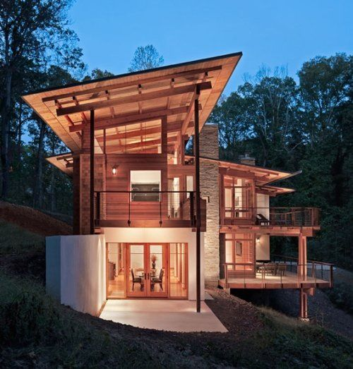 Modern Shed Atlanta: Monopitch. Wood. Appears To Be Floating Above Mass Of The