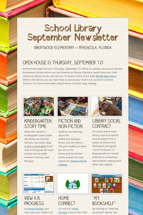 School Library September Newsletter Love The Book Background