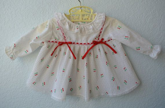 Vintage Baby Clothes  White Dress with Cherries by NellsNiche, $15.00