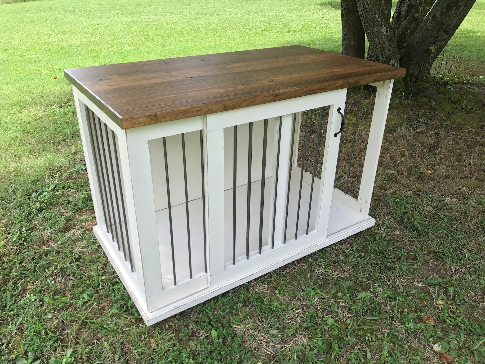 Antique White Dark Walnut Stained Custom Dog Kennel Crate Furniture Sliding Door Ingrained Builders Dog Crate Furniture Dog Furniture Wood Dog Crate