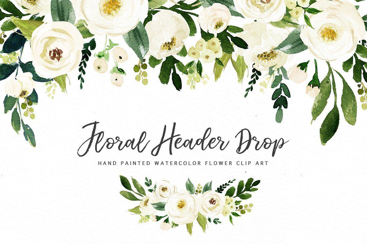 Watercolor White Flower Clip Art Com Imagens Convite De