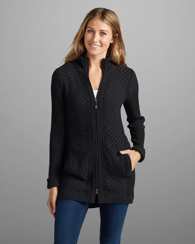 $49.50, Women's Shasta Zip-front Mockneck Cardigan Sweater   Eddie ...