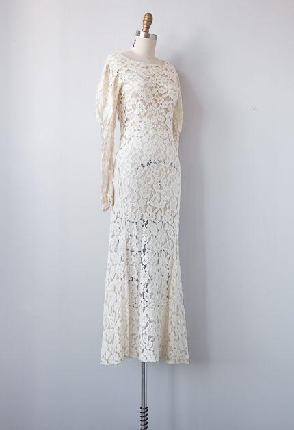 vintage 1930s lace wedding gown | dresses | Pinterest | Lace wedding ...