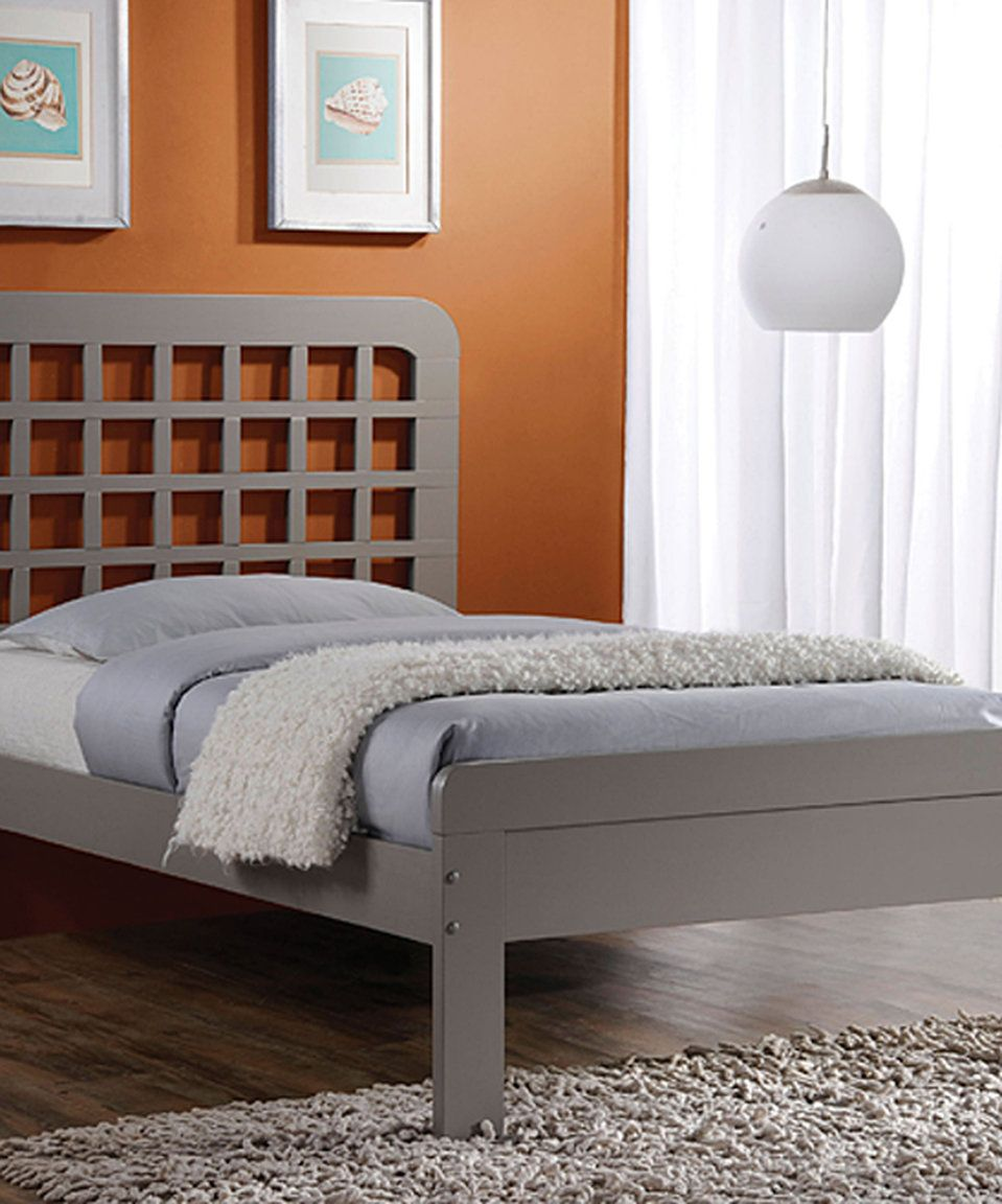 Gray Lyford Bed Wooden panel bed, Grey bed frame, Grey