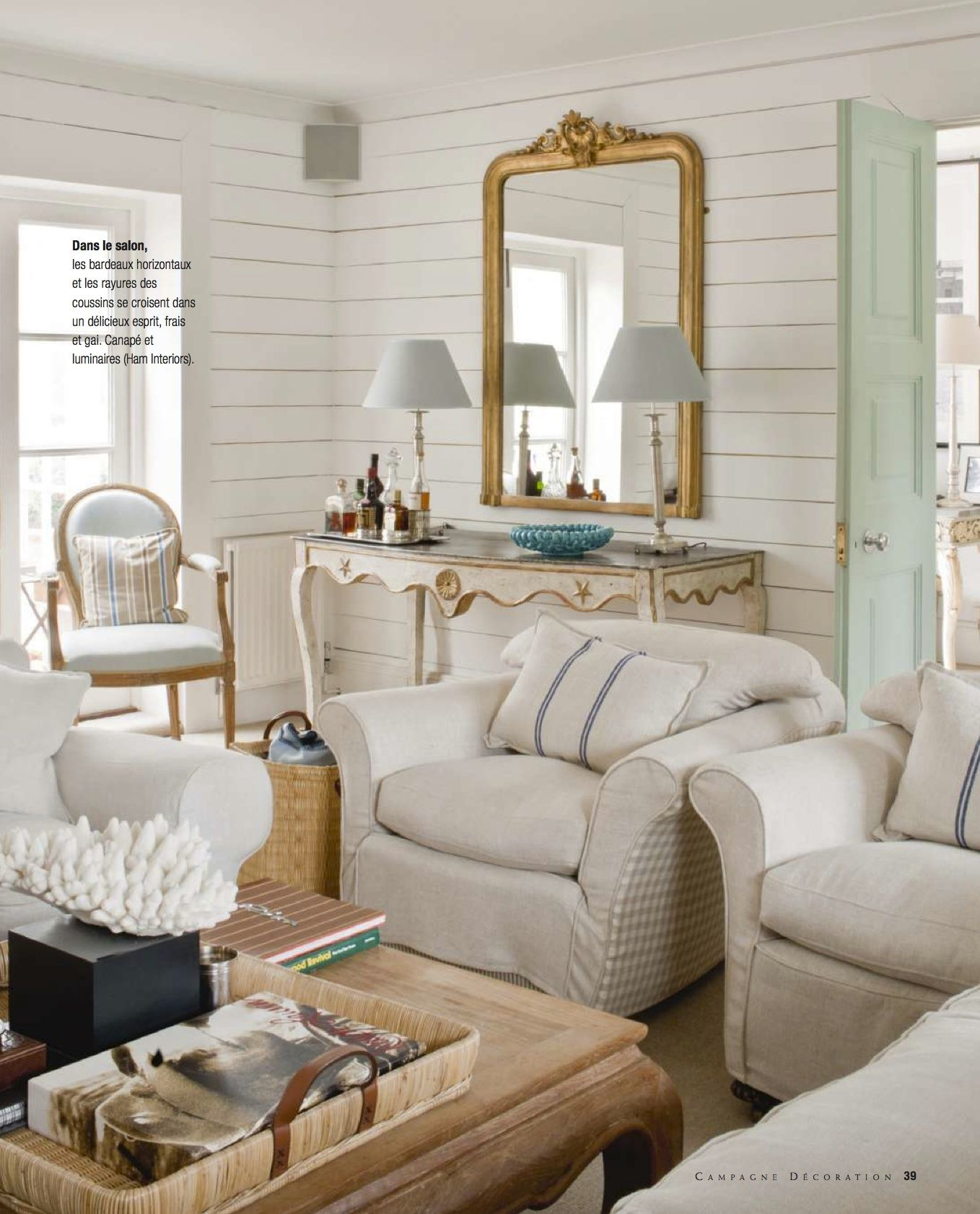 Casual With Overstuffed Linen Furnishings And Coastal Accents