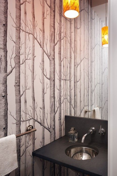 Mirror Is Reflecting The Wallpaper Nice For A Very Small Bathroom Bathroom Design With Wallpaper Birch Tree Wallpaper Birches Wallpaper