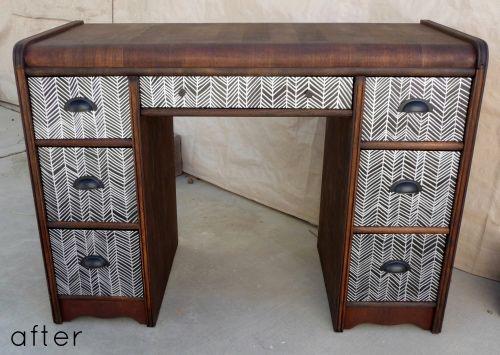 Holy Crap! Gorgeous Metallic Herringbone Desk. Need Stain, Satin Finish  Verathane Poly,