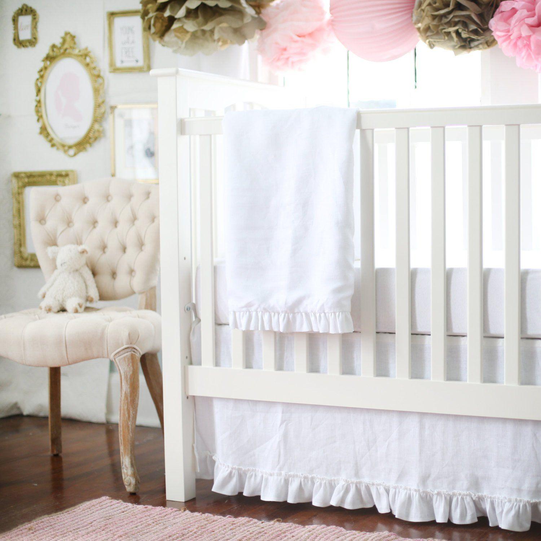 White Linen Madison Avenue Baby Bedding Set White Crib Bedding