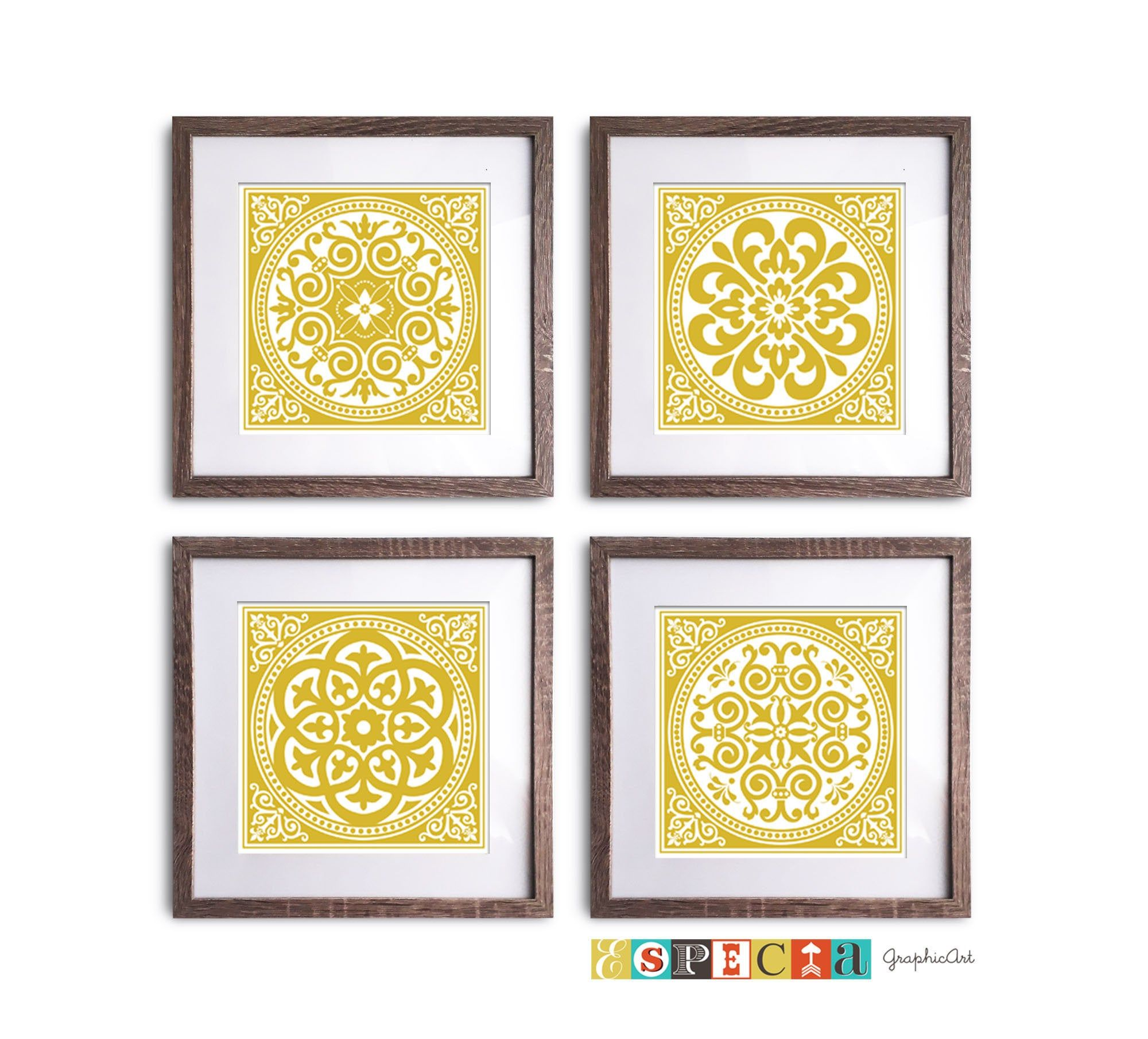 Mustard Yellow Poster Mandala Style Wall Art Printable Set Of 4 Home Decor Ochre Round Doily Pattern 8x8 Mandala Shape Circl