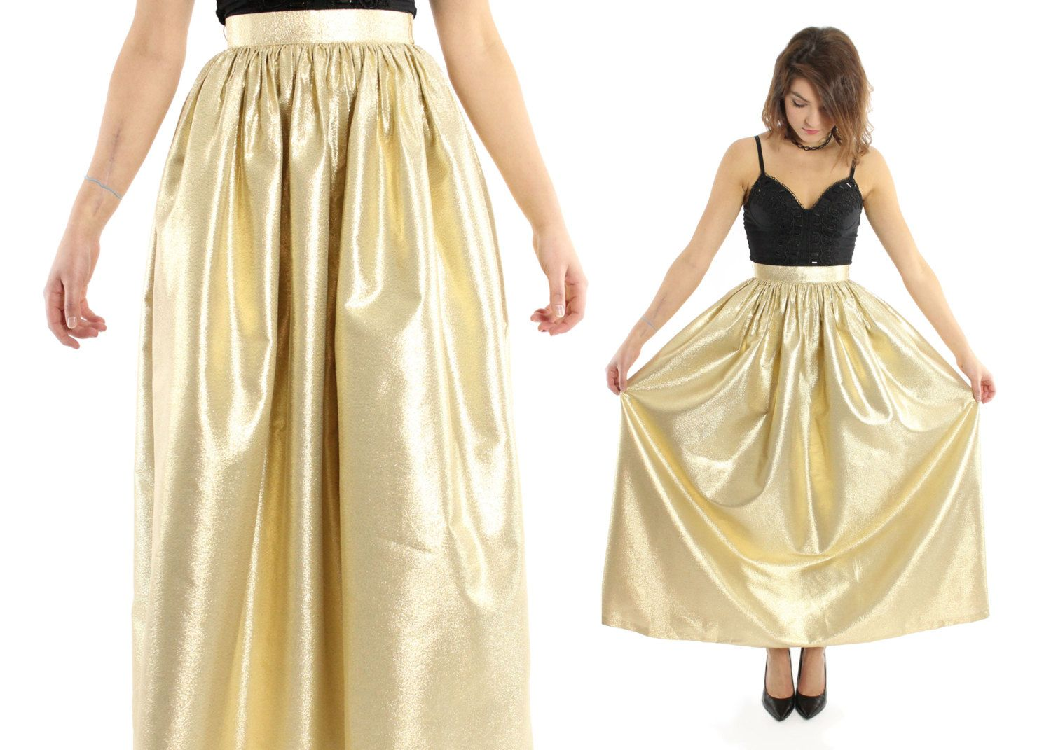 $78, Vintage 70s Maxi Skirt ALBERT CAPRARO Gold Lurex Metallic Full High Waisted 1970s XS Small by ScarletFury on Etsy