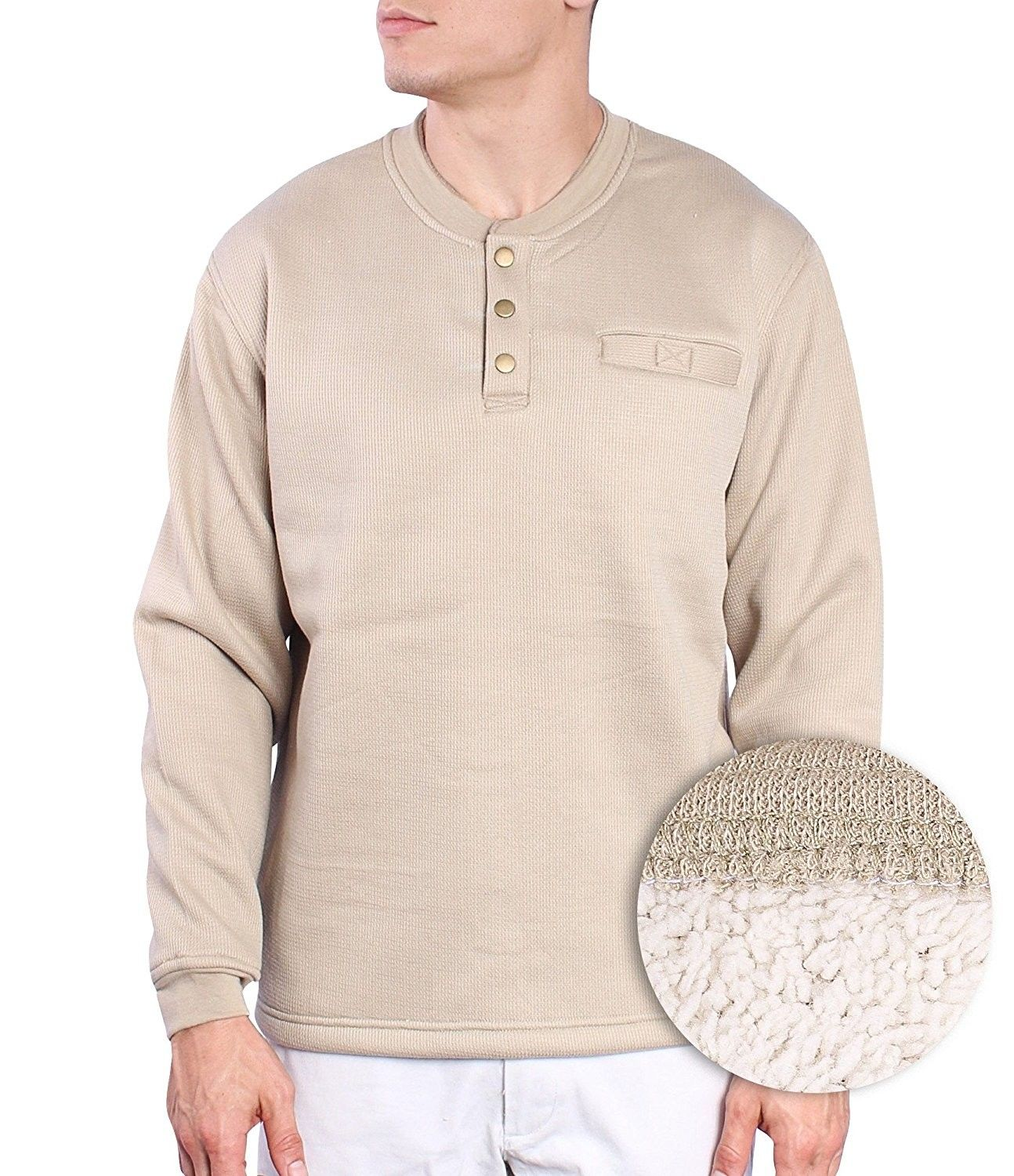 Mens Pullover Fleece Thermal Shirt For Mens Long Sleeve 3 Button Henley -  Tan - CX12MSJ1UQF 4b095853a