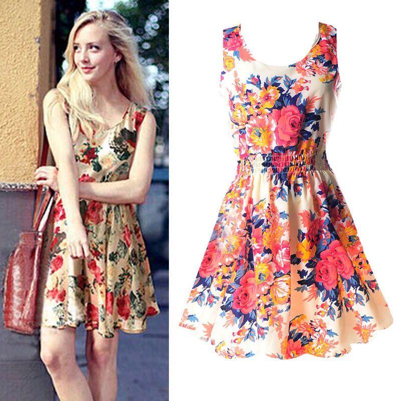 12fb399219 Chic Women Summer Beach Sleeveless Chiffon Sundress Floral Tank Mini Dress  D43