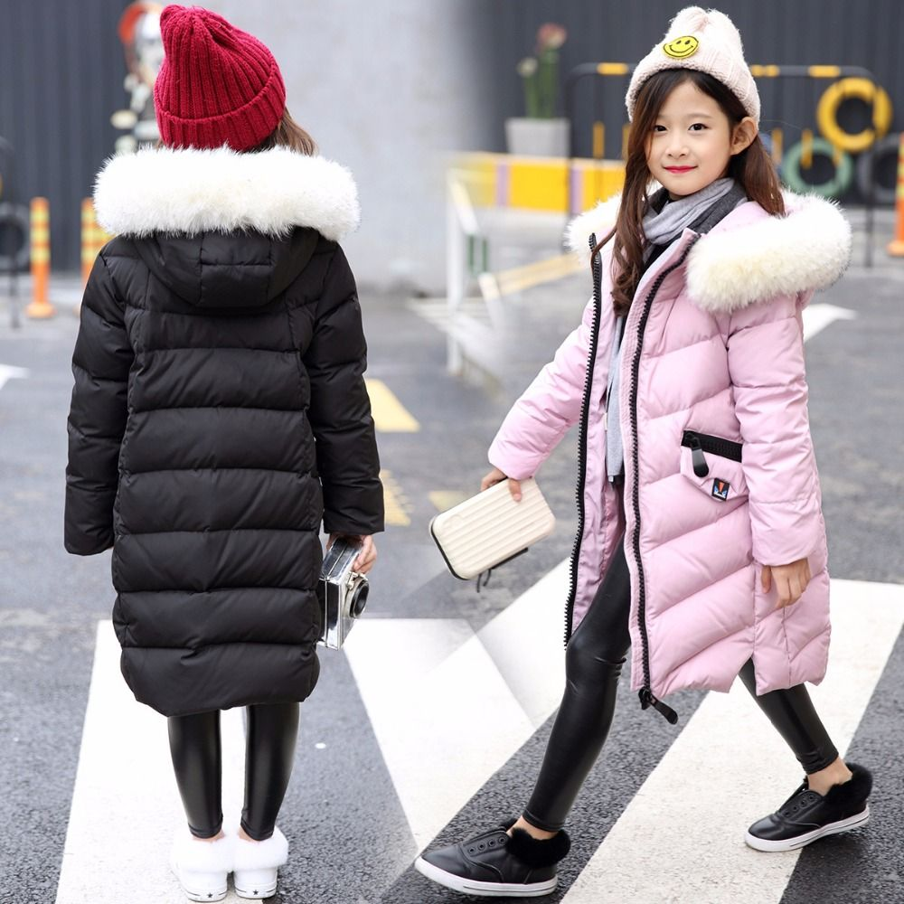 04f9157933de Girl 2017 new Korean long down jacket winter for size 8 9 10 11 12 13 14  years child large thick fur collar outerwear coat