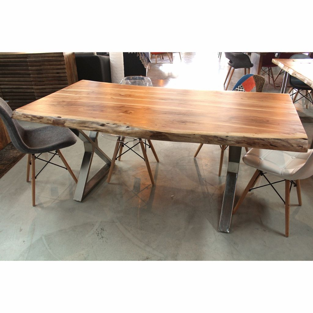 Acacia Live Edge Wood Table With Chrome X Legs Natural Color