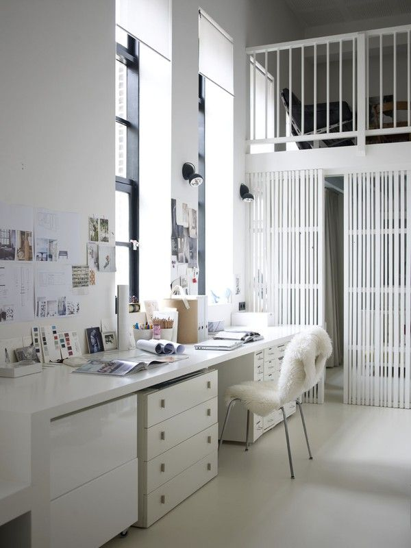 10 Ideas for Your Home Office Design | White white, White office and ...