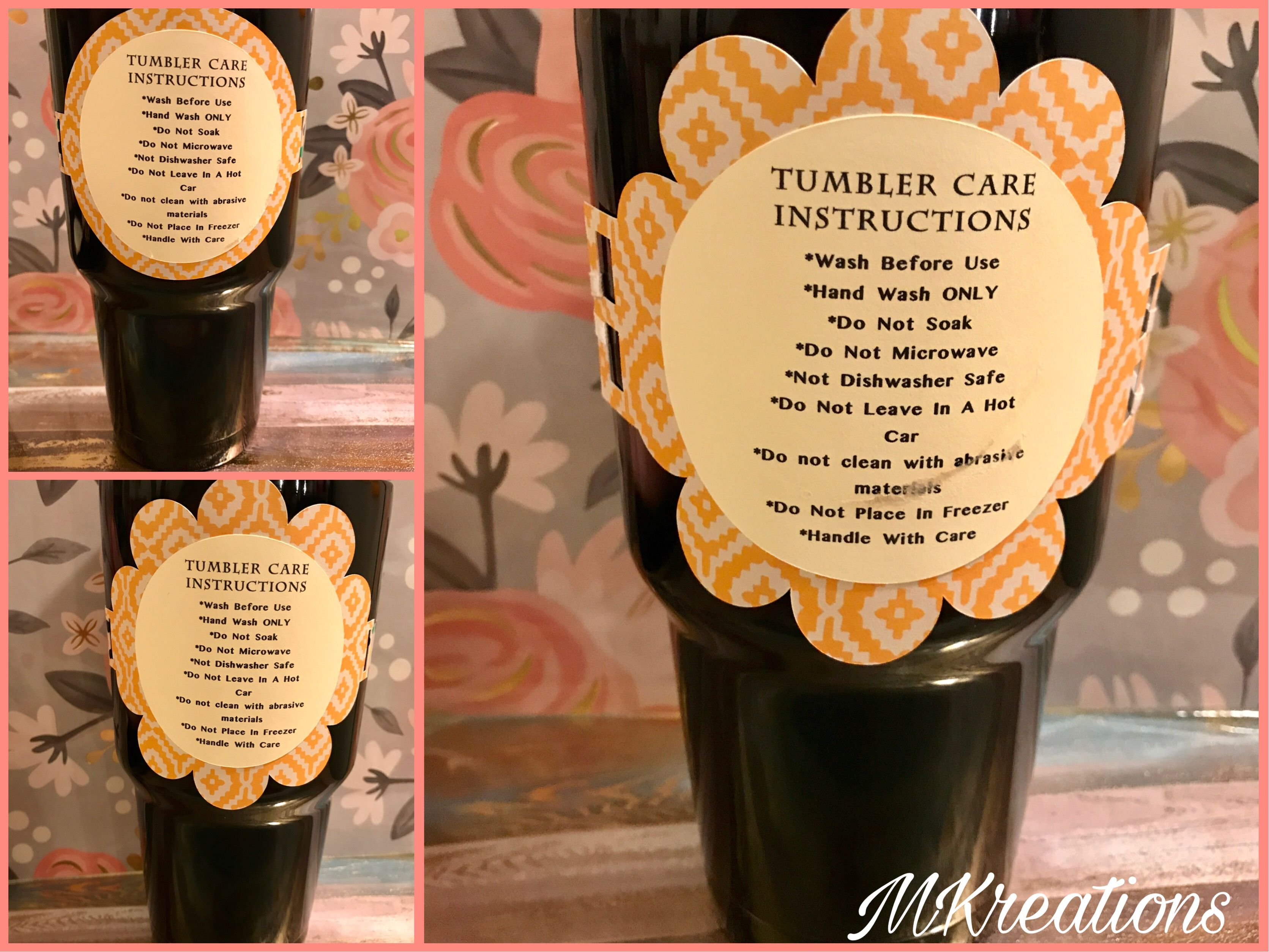 Free tumbler care instructions for cricut only