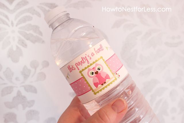 Owl Themed Birthday Party with FREE Printables Labels free - water bottle label template