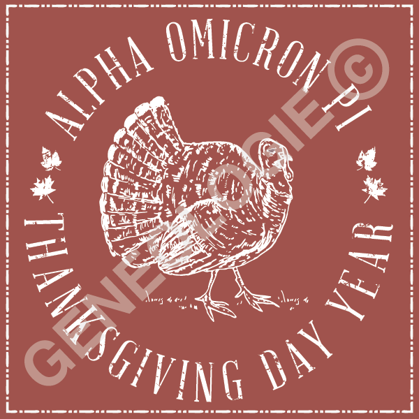 Geneologie | Greek Tee Shirts | Greek Tanks | Custom Apparel Design | Custom Greek Apparel | Sorority Tee Shirts | Sorority Tanks | Sorority Shirt Designs  | Sorority Shirt Ideas | Greek Life | Hand Drawn | Sorority | Sisterhood | Thanksgiving | Turkey | AOPi | Alpha Omicron Pi | November