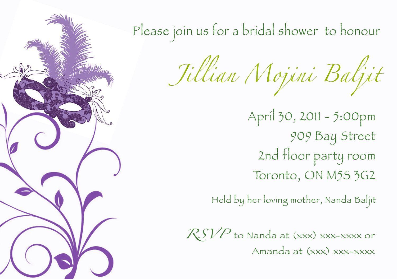Fun masquerade bridal shower invitation digital by BlushNotes ...