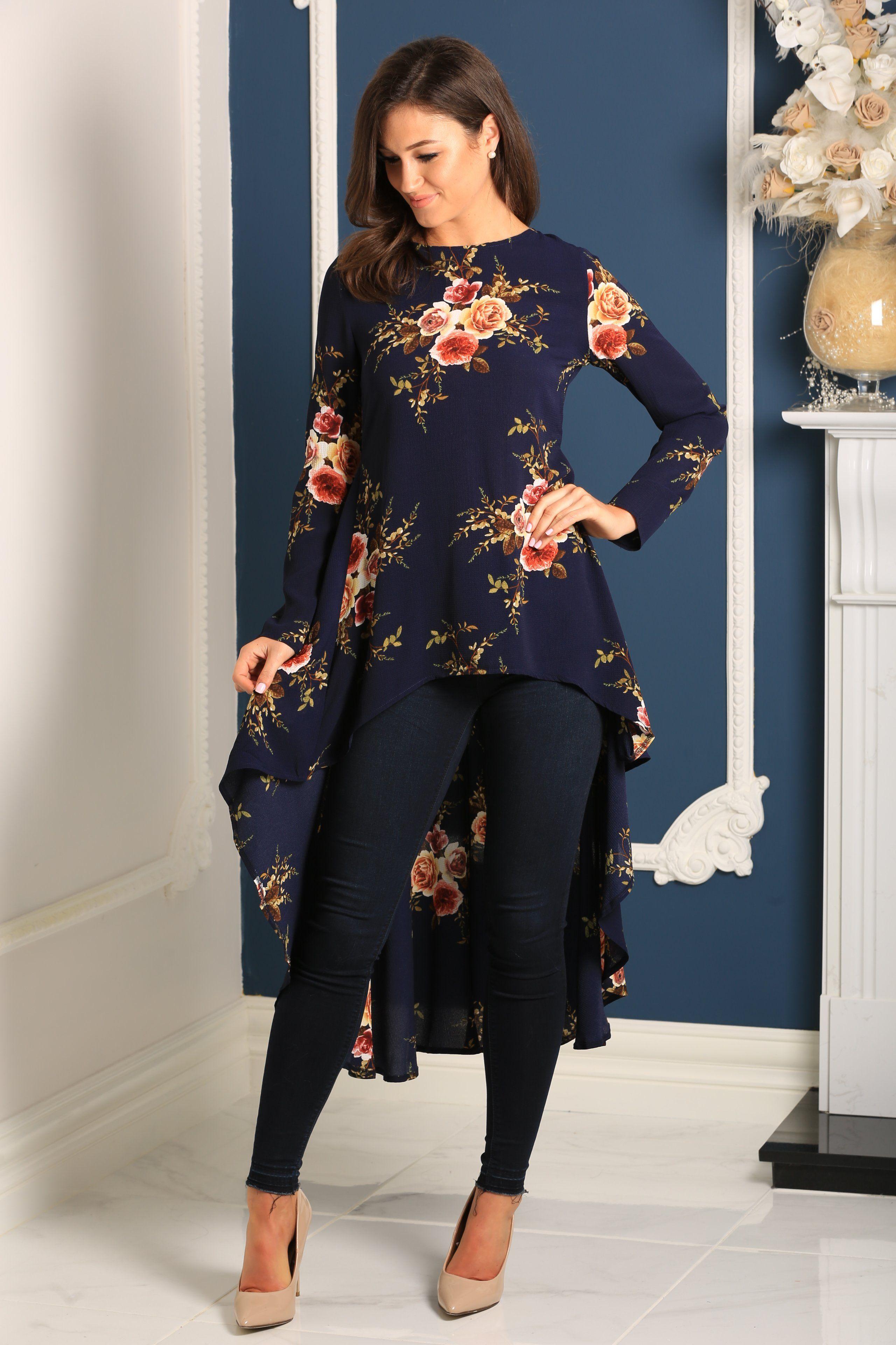 Paula navy floral print dipped back top powder blue wedding wear