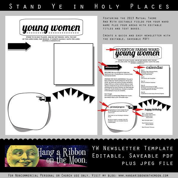 2013 yw newsletter template editable saveable pdf young women s