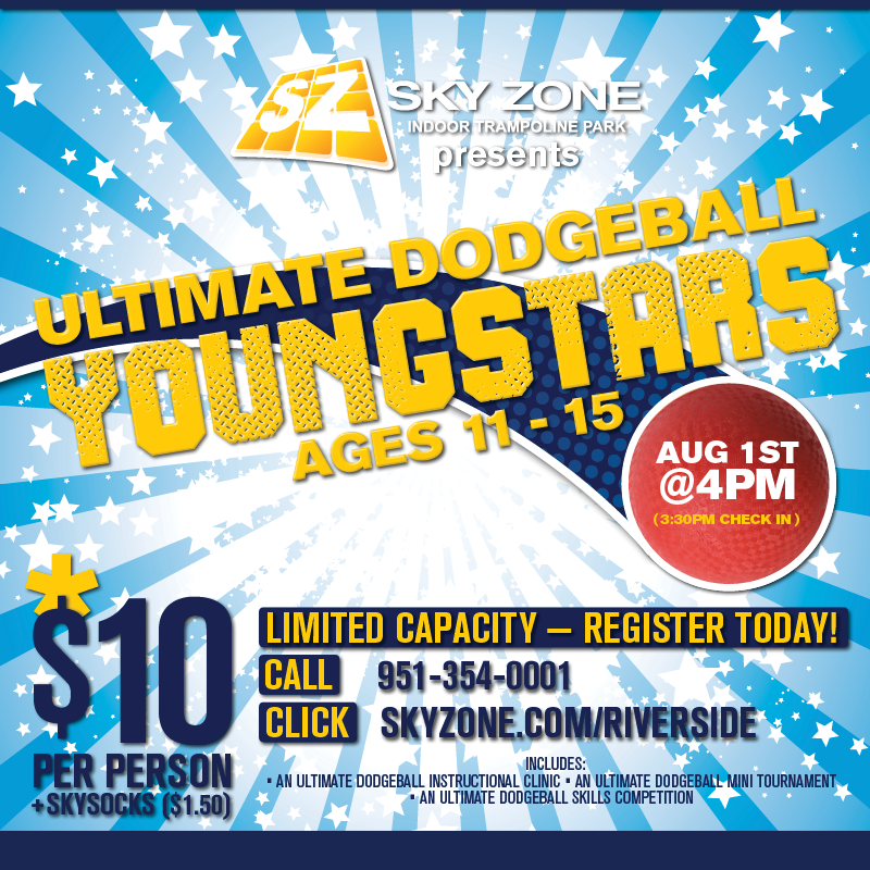 Sign up for Ultimate Dodgeball Youngstars today! #skyzonecoronariverside #skyzoneriverside #skyzone #fun #jump #corona #riverside #california #bounce #kids #teenagers #love #instagood #me #cute #trampoline #play #fitness #health #foampit #exercise #jumphigh #openjump #gymnastics #tumbling #workout #fit #fitness #trampoline #birthdayparty (951)-354-0001 4031 Flat Rock Dr., Riverside, CA  92505  AT RIVERWALK BUSINESS PARK