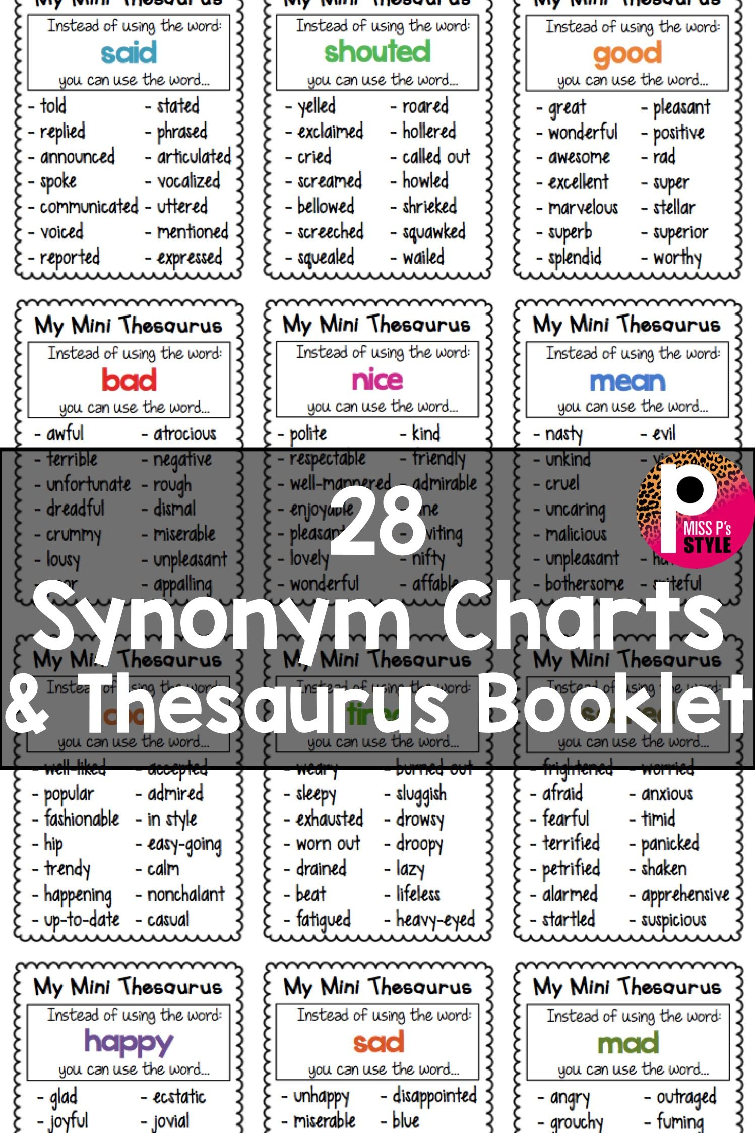 Thesaurus Synonym Charts Writing Instruction Writing Lessons Learn English Words
