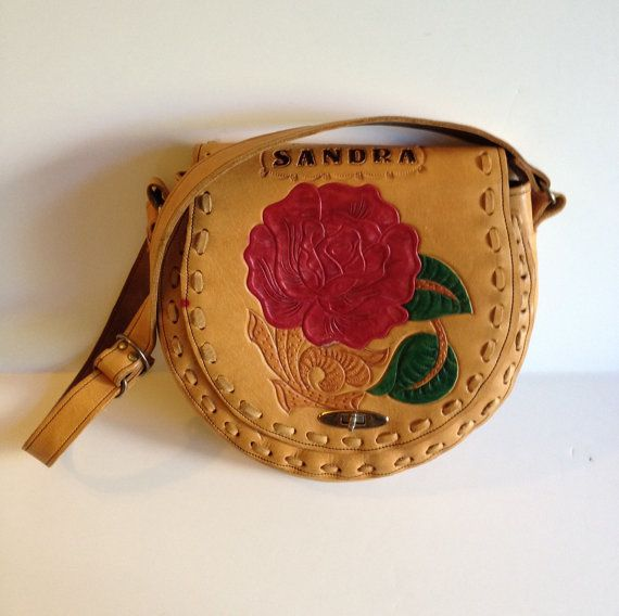 Hand Tooled and Painted Vintage Purse by BarbeeVintage on Etsy, $21.00