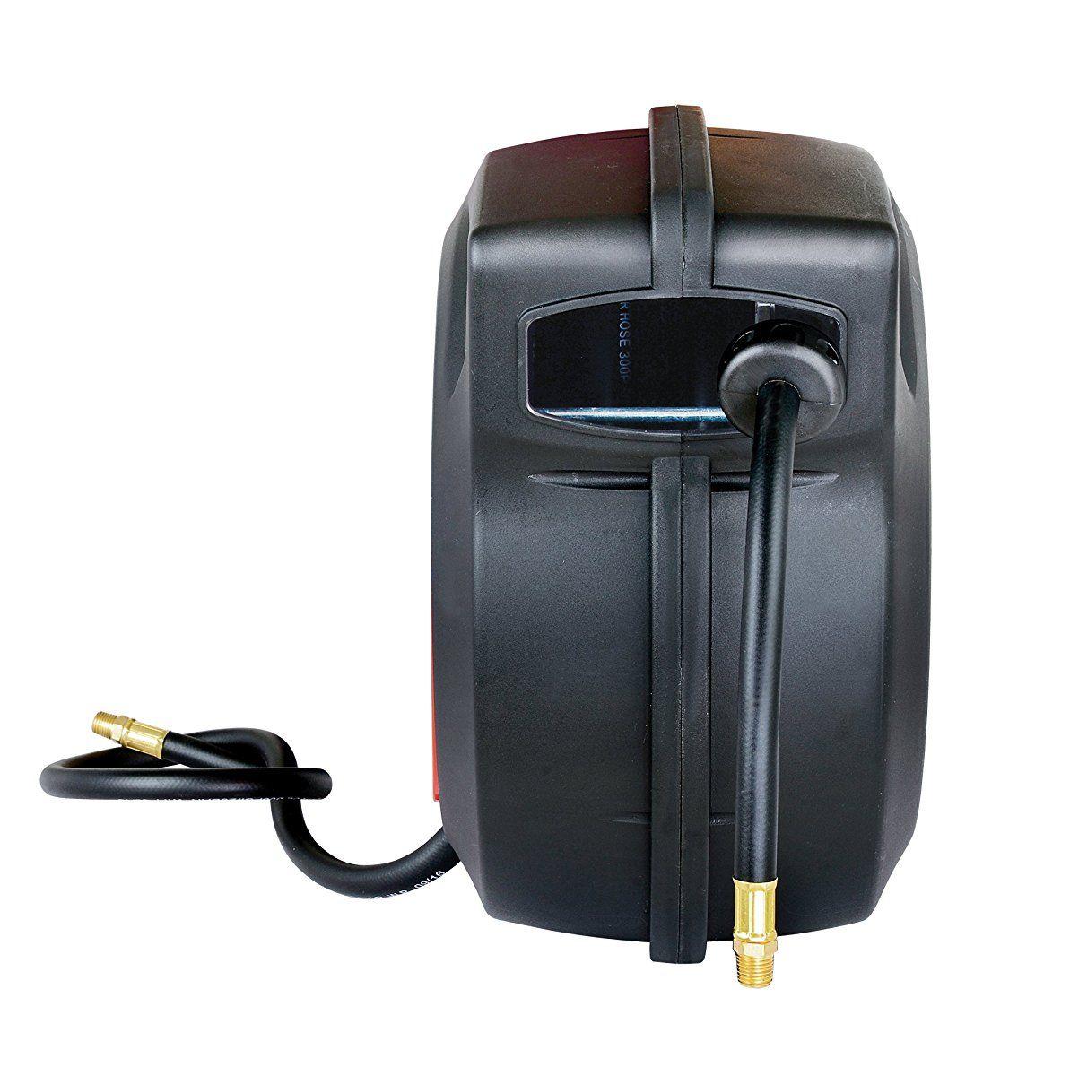 "REELWORKS Plastic Retractable Air Hose Reel 3//8/"" x 50/' Polymer Hose"