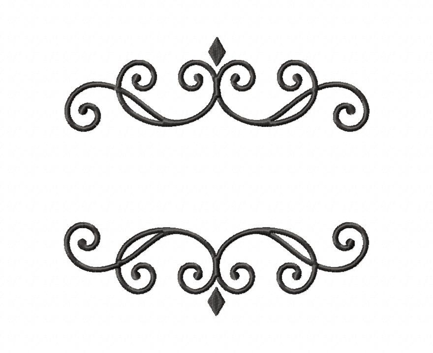 elegant monogram font frame machine embroidery design