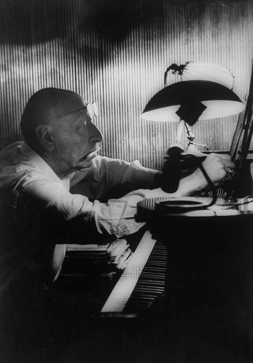 Igor Stravinsky working at a piano in an empty dance hall, Venice 1957 -by Gjon Mili from Life Archive