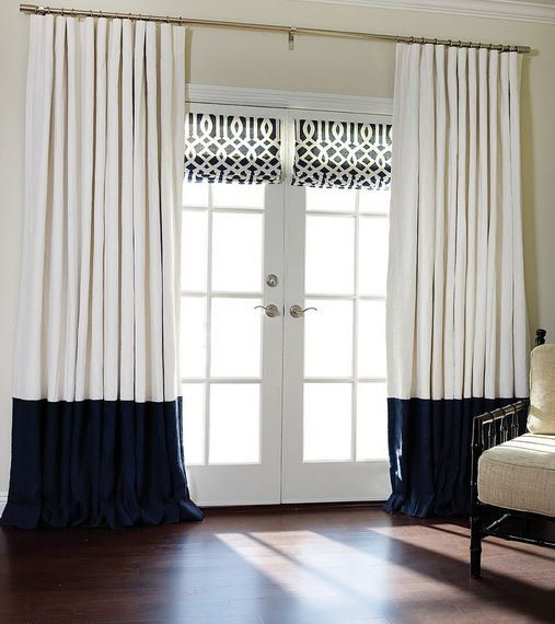 Curtains Ideas colorblock curtains : Flat panels, rod pocket drapes, Pair off white and navy blue color ...