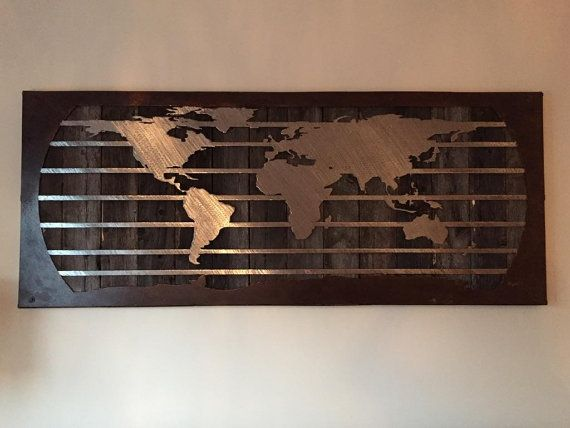World Map Metal Wall Art Living Room Decor With By MishMashMetal