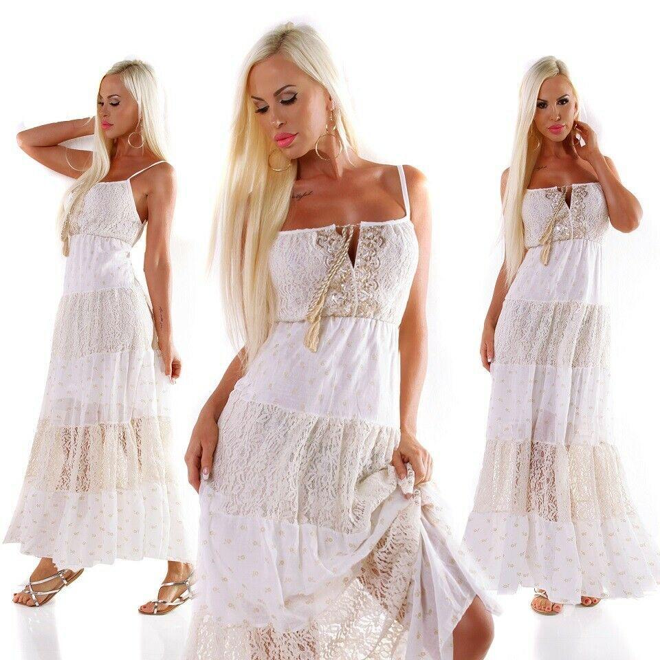 Damen Italy Maxikleid creme Spitze langes Sommer Kleid goldene