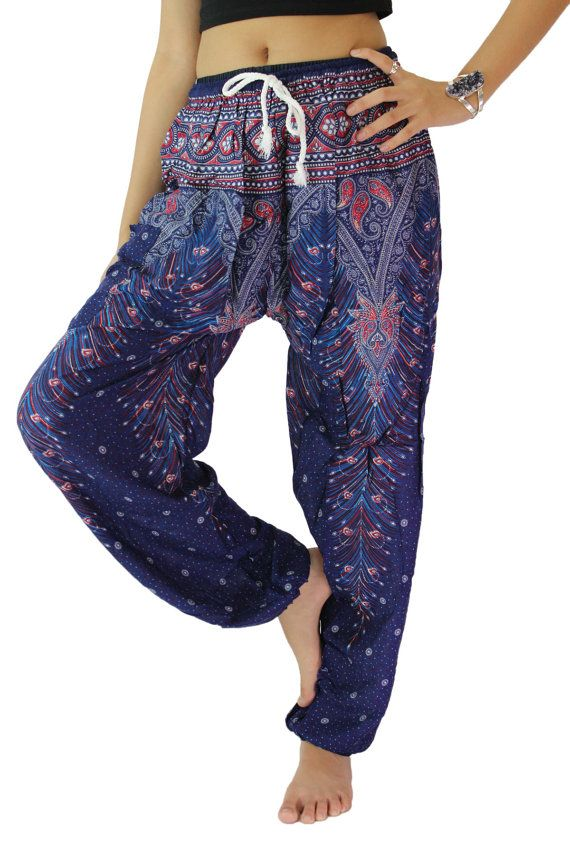 20c3b4ee24992 Blue Peacock Boho Pants hippie pants harem pants by bangkokpants ...