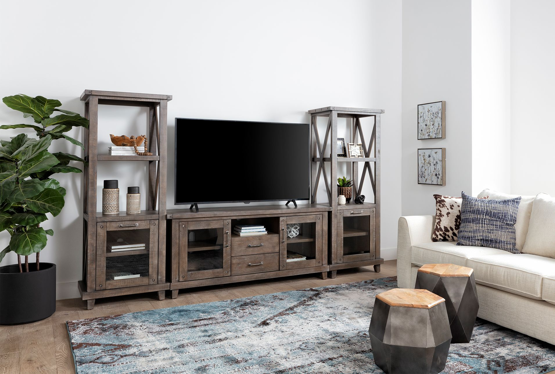 Jaxon Grey 3 Piece Entertainment Center With 68 Inch Tv Stand With Glass Doors Living Room Entertainment Center Entertainment Center Tv Stand Living Spaces