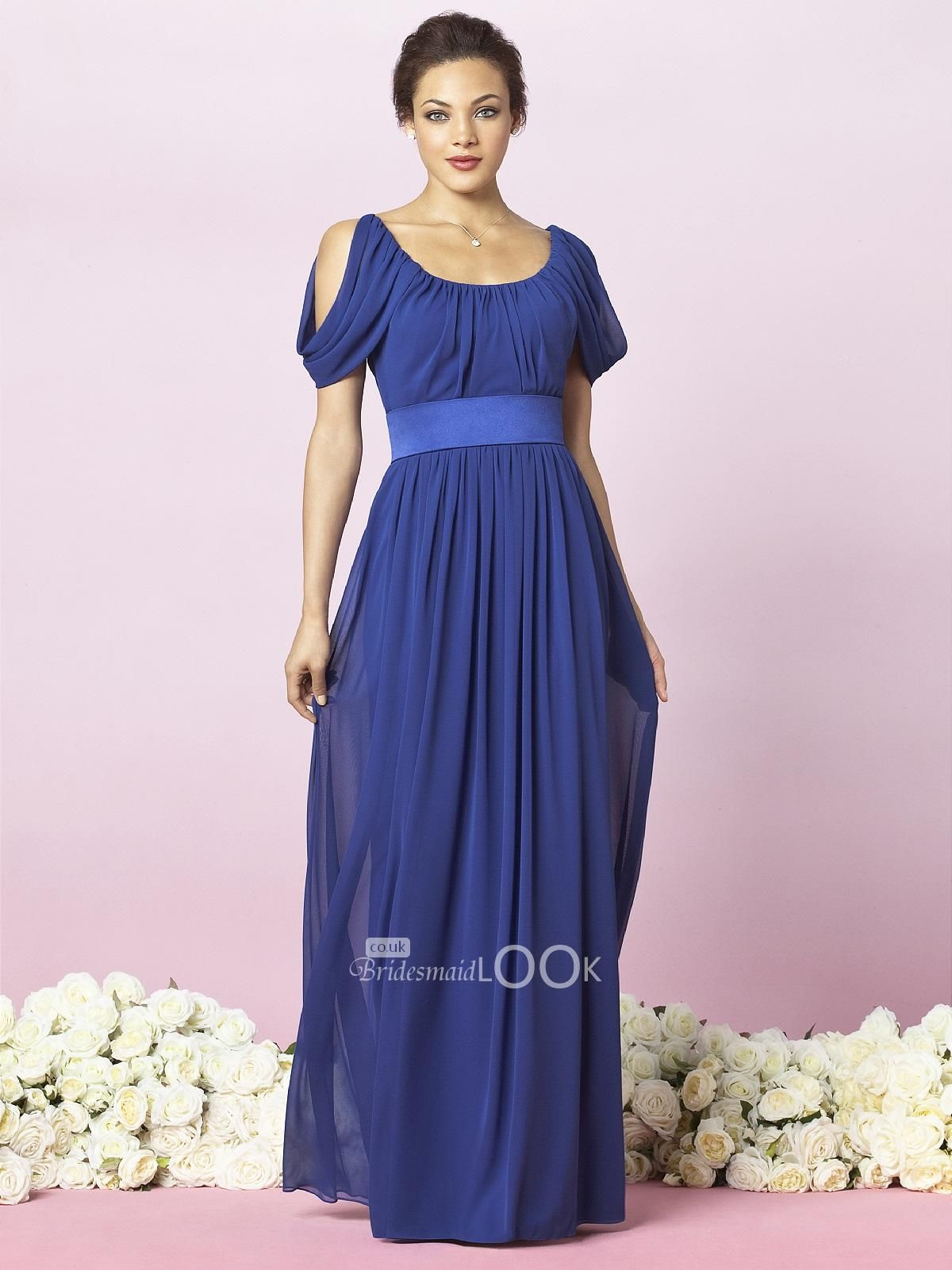 long blue bridesmaid dress with draped sleeve bridesmaids gown