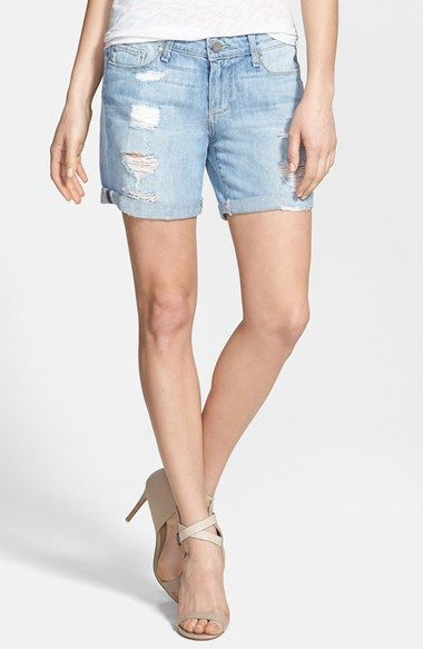 Paige Denim 'Grant' Destroyed Boyfriend Denim Shorts (Naomi Destructed) available at #Nordstrom