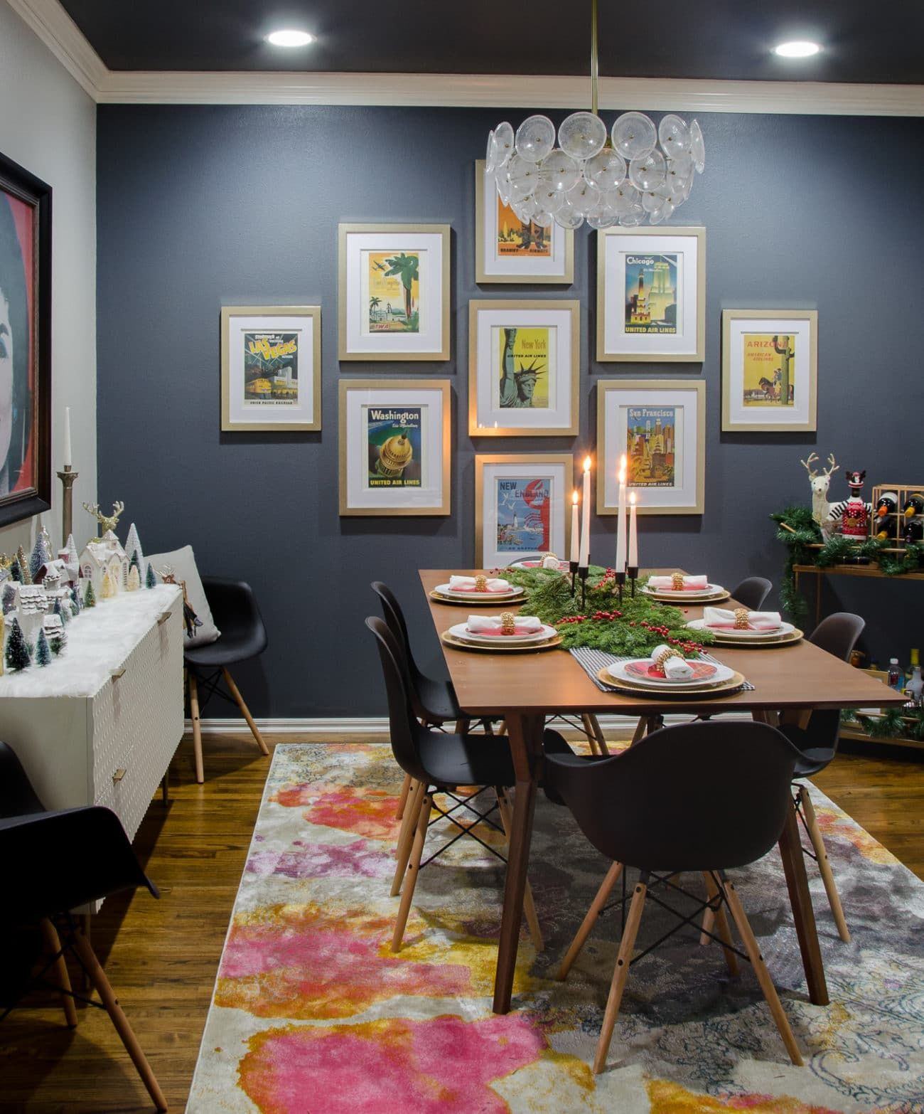 Modern Glam Dining Room Decor With A Mid Century Twist West Elm Mid Century Expanding Tabl Modern Dining Room Dining Room Chairs Modern Christmas Dining Room