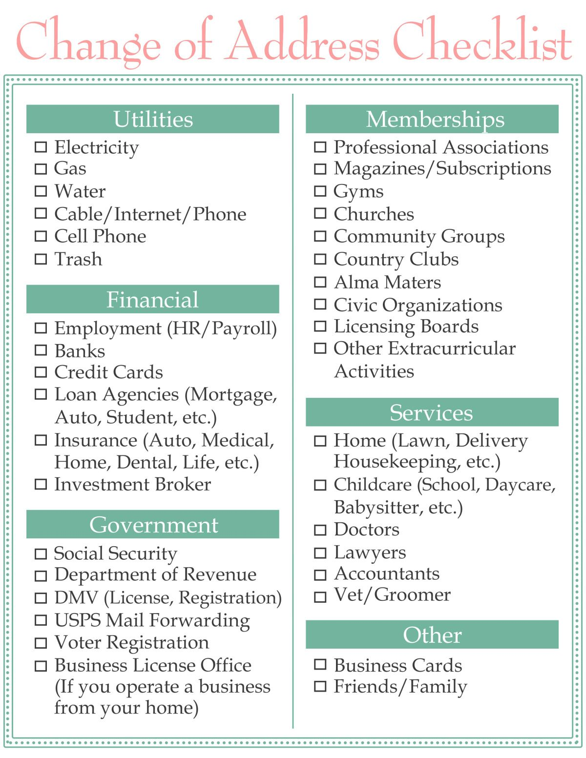 Change Of Address Checklist New Home Checklist Moving Tips