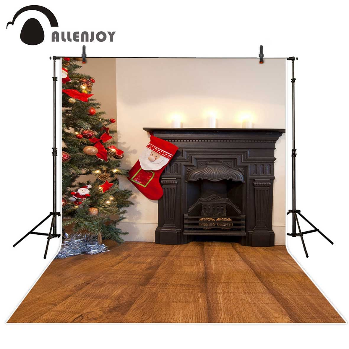 allenjoy christmas background fireplace christmas tree wooden