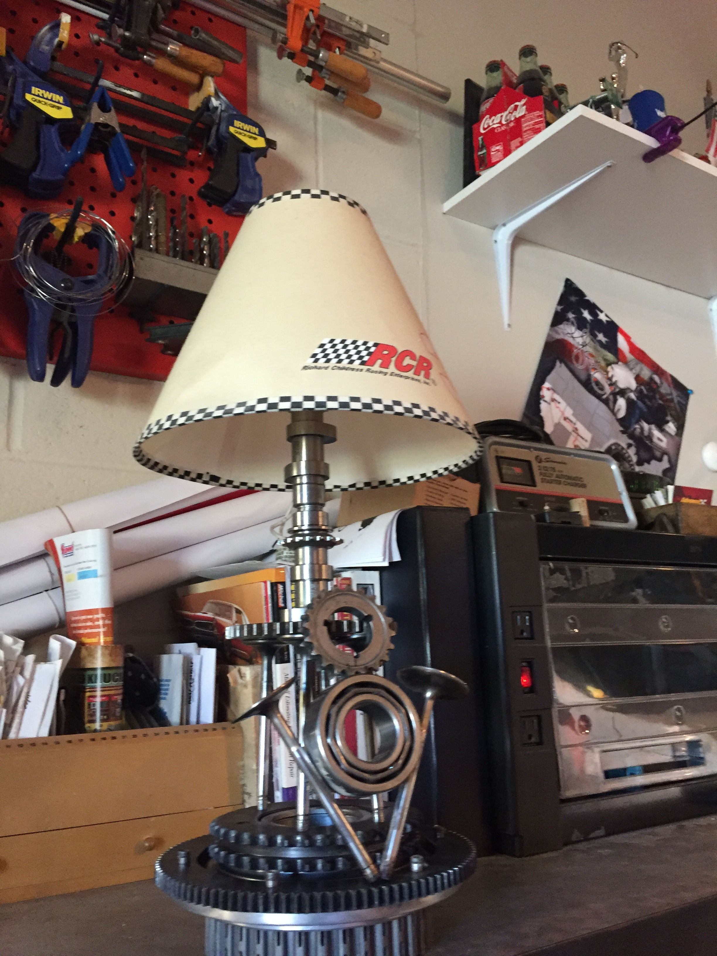 Table Lamp Made From Car And Motorcycle Parts